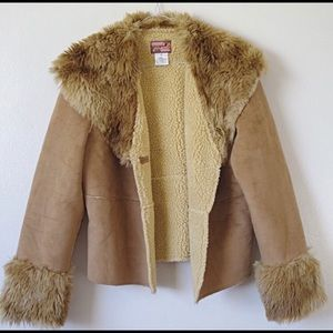 {April Cornell} Sherpa Lined Fur Suede Jacket